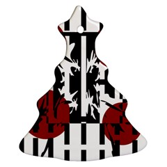 Red, Black And White Elegant Design Christmas Tree Ornament (2 Sides) by Valentinaart