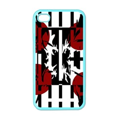 Red, Black And White Elegant Design Apple Iphone 4 Case (color) by Valentinaart