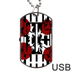 Red, Black And White Elegant Design Dog Tag Usb Flash (one Side) by Valentinaart