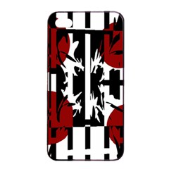 Red, Black And White Elegant Design Apple Iphone 4/4s Seamless Case (black) by Valentinaart