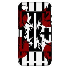 Red, Black And White Elegant Design Apple Iphone 4/4s Hardshell Case (pc+silicone) by Valentinaart