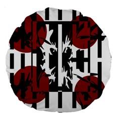 Red, Black And White Elegant Design Large 18  Premium Round Cushions by Valentinaart