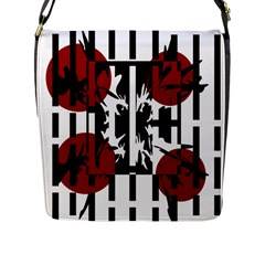 Red, Black And White Elegant Design Flap Messenger Bag (l)  by Valentinaart