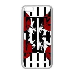 Red, Black And White Elegant Design Apple Iphone 5c Seamless Case (white) by Valentinaart