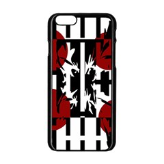 Red, Black And White Elegant Design Apple Iphone 6/6s Black Enamel Case by Valentinaart
