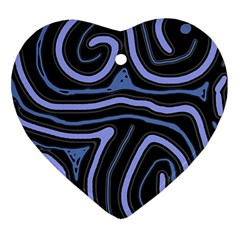 Blue Abstract Design Heart Ornament (2 Sides) by Valentinaart