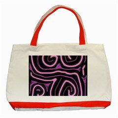Purple neon lines Classic Tote Bag (Red) by Valentinaart