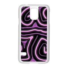 Purple neon lines Samsung Galaxy S5 Case (White)