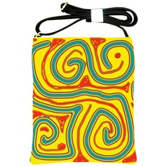Colorful Decorative Lines Shoulder Sling Bags by Valentinaart