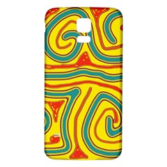 Colorful Decorative Lines Samsung Galaxy S5 Back Case (white) by Valentinaart
