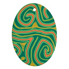 Green And Orange Lines Ornament (oval)  by Valentinaart