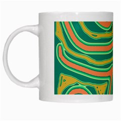 Green And Orange Lines White Mugs by Valentinaart