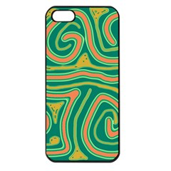 Green And Orange Lines Apple Iphone 5 Seamless Case (black) by Valentinaart