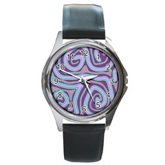 Purple Lines Round Metal Watch by Valentinaart