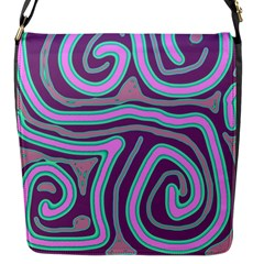 Purple Lines Flap Messenger Bag (s) by Valentinaart