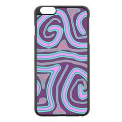 Purple Lines Apple Iphone 6 Plus/6s Plus Black Enamel Case by Valentinaart