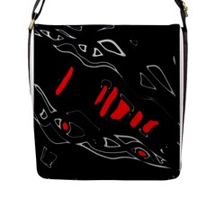 Black And Red Artistic Abstraction Flap Messenger Bag (l)  by Valentinaart