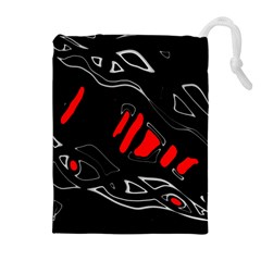 Black and red artistic abstraction Drawstring Pouches (Extra Large)