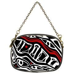 Red, Black And White Abstract Art Chain Purses (two Sides)  by Valentinaart