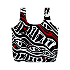 Red, Black And White Abstract Art Full Print Recycle Bags (m)  by Valentinaart