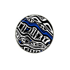 Deep Blue, Black And White Abstract Art Hat Clip Ball Marker (4 Pack) by Valentinaart