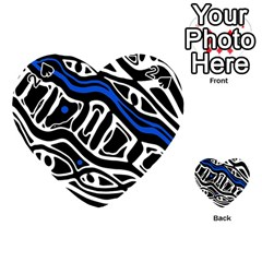 Deep Blue, Black And White Abstract Art Playing Cards 54 (heart)  by Valentinaart