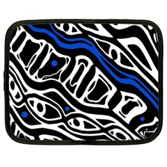 Deep Blue, Black And White Abstract Art Netbook Case (xl)  by Valentinaart