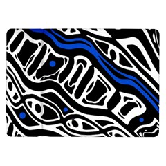 Deep blue, black and white abstract art Samsung Galaxy Tab 10.1  P7500 Flip Case by Valentinaart