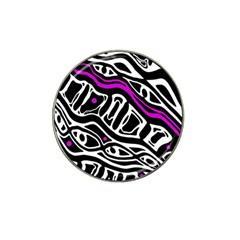 Purple, Black And White Abstract Art Hat Clip Ball Marker by Valentinaart