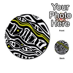 Yellow, Black And White Abstract Art Multi Purpose Cards (round)  by Valentinaart