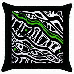 Green, Black And White Abstract Art Throw Pillow Case (black) by Valentinaart