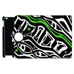 Green, Black And White Abstract Art Apple Ipad 2 Flip 360 Case by Valentinaart