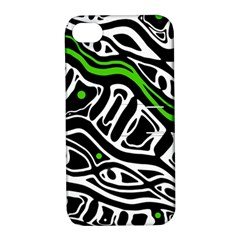Green, Black And White Abstract Art Apple Iphone 4/4s Hardshell Case With Stand by Valentinaart