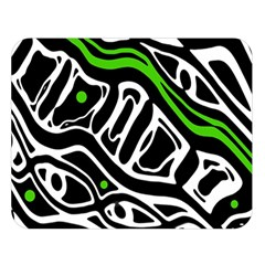 Green, Black And White Abstract Art Double Sided Flano Blanket (large)  by Valentinaart