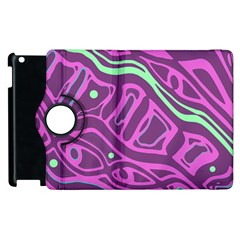 Purple And Green Abstract Art Apple Ipad 2 Flip 360 Case by Valentinaart