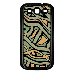 Green Abstract Art Samsung Galaxy S3 Back Case (black) by Valentinaart