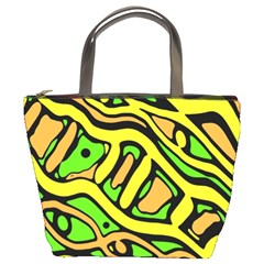 Yellow, Green And Oragne Abstract Art Bucket Bags by Valentinaart