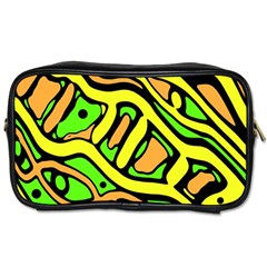 Yellow, Green And Oragne Abstract Art Toiletries Bags 2 Side by Valentinaart