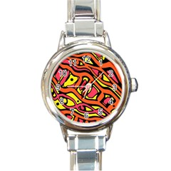 Orange Hot Abstract Art Round Italian Charm Watch by Valentinaart
