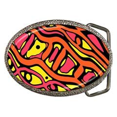 Orange Hot Abstract Art Belt Buckles by Valentinaart