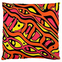 Orange Hot Abstract Art Large Flano Cushion Case (two Sides) by Valentinaart