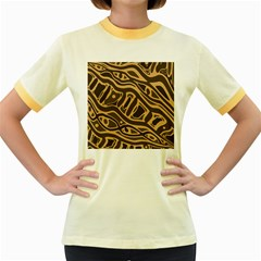 Brown abstract art Women s Fitted Ringer T-Shirts