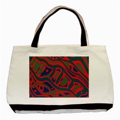 Red And Green Abstract Art Basic Tote Bag (two Sides) by Valentinaart