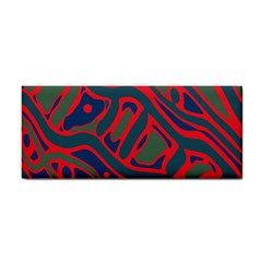 Red And Green Abstract Art Hand Towel by Valentinaart