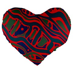 Red And Green Abstract Art Large 19  Premium Flano Heart Shape Cushions by Valentinaart