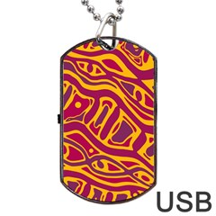 Orange Abstract Art Dog Tag Usb Flash (two Sides)  by Valentinaart