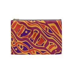 Orange Decorative Abstract Art Cosmetic Bag (medium)  by Valentinaart