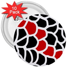Red, Black And White Abstraction 3  Buttons (10 Pack)  by Valentinaart