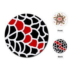 Red, Black And White Abstraction Playing Cards (round)  by Valentinaart