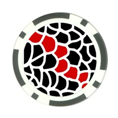 Red, Black And White Abstraction Poker Chip Card Guards by Valentinaart